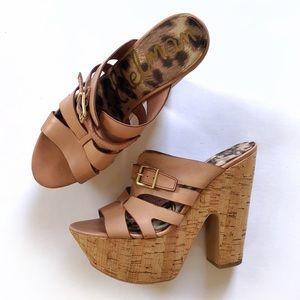 Sam Edelman Chase platform sandals blush cork heel